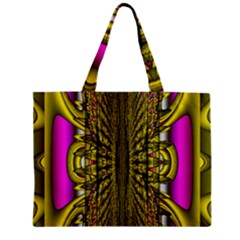 Fractal In Purple And Gold Zipper Mini Tote Bag by Simbadda