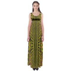 Fractal In Purple And Gold Empire Waist Maxi Dress