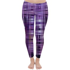 Purple Wave Abstract Background Shades Of Purple Tightly Woven Classic Winter Leggings by Simbadda