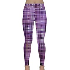 Purple Wave Abstract Background Shades Of Purple Tightly Woven Classic Yoga Leggings by Simbadda