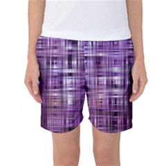 Purple Wave Abstract Background Shades Of Purple Tightly Woven Women s Basketball Shorts by Simbadda