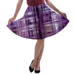 Purple Wave Abstract Background Shades Of Purple Tightly Woven A-line Skater Skirt by Simbadda