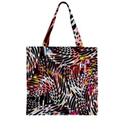 Abstract Composition Digital Processing Zipper Grocery Tote Bag by Simbadda