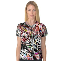 Abstract Composition Digital Processing Women s V Neck Sport Mesh Tee by Simbadda