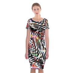 Abstract Composition Digital Processing Classic Short Sleeve Midi Dress by Simbadda