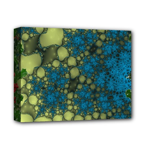 Holly Frame With Stone Fractal Background Deluxe Canvas 14  X 11  by Simbadda