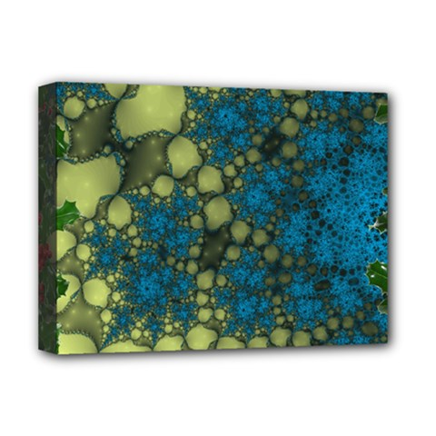 Holly Frame With Stone Fractal Background Deluxe Canvas 16  X 12   by Simbadda