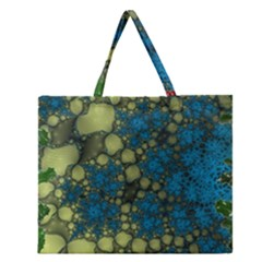Holly Frame With Stone Fractal Background Zipper Large Tote Bag by Simbadda