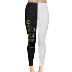 The lord is my strength and my shield in him my heart trusts......inspirational quotes Leggings  by chirag505p