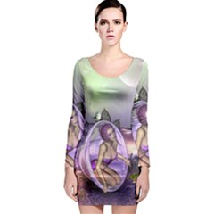 Wonderful Fairy In The Wonderland , Colorful Landscape Long Sleeve Bodycon Dress by FantasyWorld7