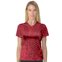 Deep Red Background Abstract Women s V Neck Sport Mesh Tee