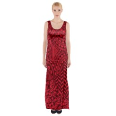 Deep Red Background Abstract Maxi Thigh Split Dress by Simbadda