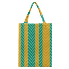 Green And Orange Herringbone Wallpaper Pattern Background Classic Tote Bag by Simbadda