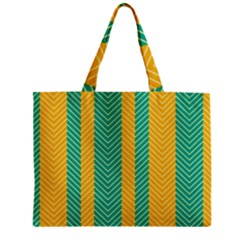 Green And Orange Herringbone Wallpaper Pattern Background Zipper Mini Tote Bag by Simbadda