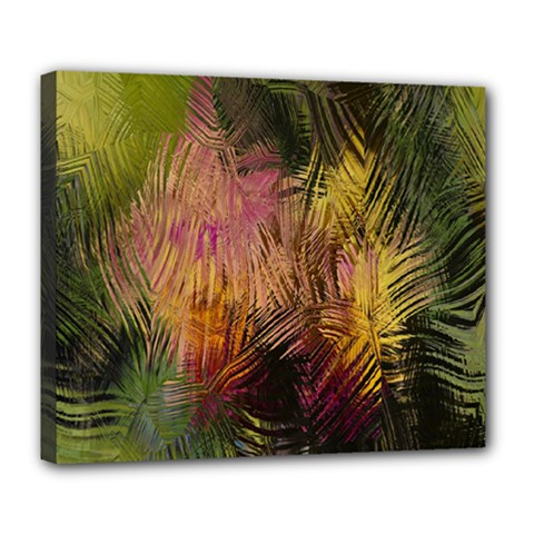 Abstract Brush Strokes In A Floral Pattern  Deluxe Canvas 24  X 20   by Simbadda