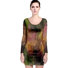 Abstract Brush Strokes In A Floral Pattern  Long Sleeve Bodycon Dress by Simbadda