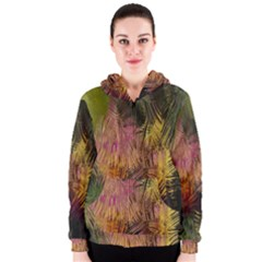 Abstract Brush Strokes In A Floral Pattern  Women s Zipper Hoodie