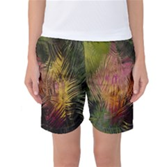 Abstract Brush Strokes In A Floral Pattern  Women s Basketball Shorts by Simbadda