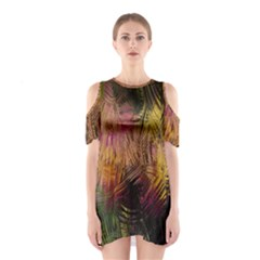 Abstract Brush Strokes In A Floral Pattern  Shoulder Cutout One Piece by Simbadda