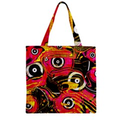 Abstract Clutter Pattern Baffled Field Zipper Grocery Tote Bag by Simbadda