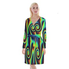 Background Colorful Vortex In Structure Long Sleeve Velvet Front Wrap Dress