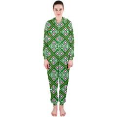 Digital Computer Graphic Seamless Geometric Ornament Hooded Jumpsuit (ladies)