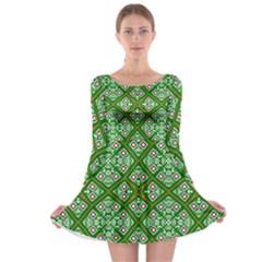 Digital Computer Graphic Seamless Geometric Ornament Long Sleeve Skater Dress