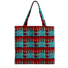 Architectural Abstract Pattern Zipper Grocery Tote Bag by Simbadda