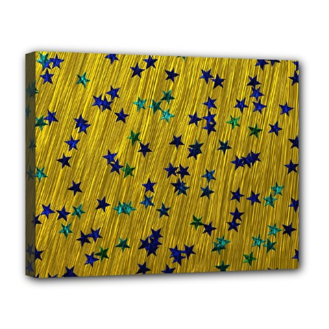 Abstract Gold Background With Blue Stars Canvas 14  X 11  by Simbadda