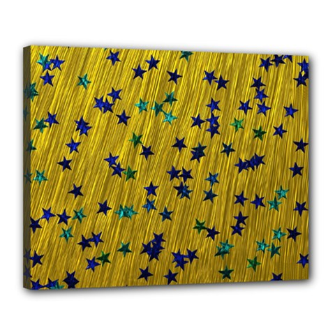 Abstract Gold Background With Blue Stars Canvas 20  X 16  by Simbadda