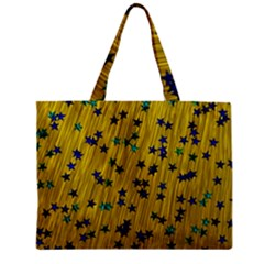 Abstract Gold Background With Blue Stars Zipper Mini Tote Bag by Simbadda