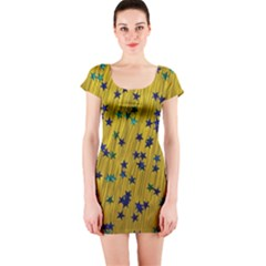 Abstract Gold Background With Blue Stars Short Sleeve Bodycon Dress