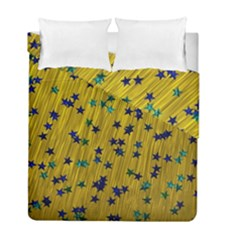 Abstract Gold Background With Blue Stars Duvet Cover Double Side (Full/ Double Size) by Simbadda