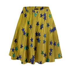 Abstract Gold Background With Blue Stars High Waist Skirt by Simbadda