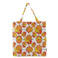 Colorful Stylized Floral Pattern Grocery Tote Bag by dflcprints