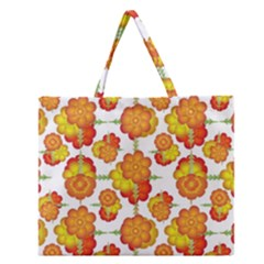 Colorful Stylized Floral Pattern Zipper Large Tote Bag by dflcprints
