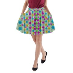 Wood And Flower Trees With Smiles Of Gold A Line Pocket Skirt by pepitasart