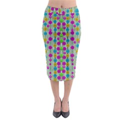Wood And Flower Trees With Smiles Of Gold Midi Pencil Skirt by pepitasart
