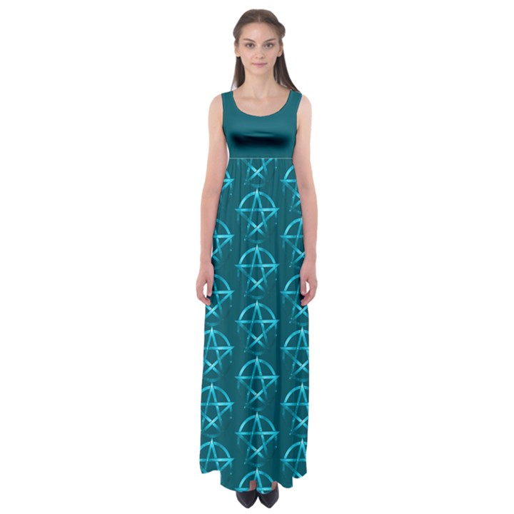 Mystic Teal Pagan Pentacle Wiccan Empire Waist Maxi Dress.