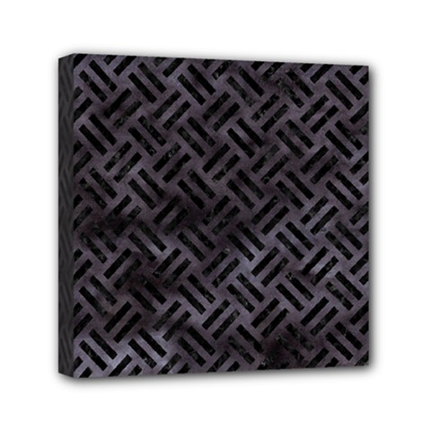 Woven2 Black Marble & Black Watercolor (r) Mini Canvas 6  X 6  (stretched) by trendistuff