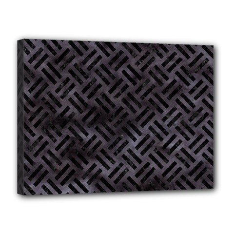 Woven2 Black Marble & Black Watercolor (r) Canvas 16  X 12  (stretched) by trendistuff