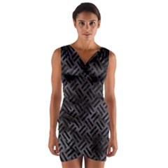 Woven2 Black Marble & Black Watercolor (r) Wrap Front Bodycon Dress by trendistuff