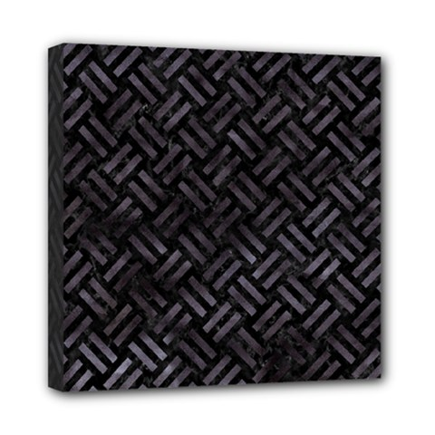 Woven2 Black Marble & Black Watercolor Mini Canvas 8  X 8  (stretched) by trendistuff