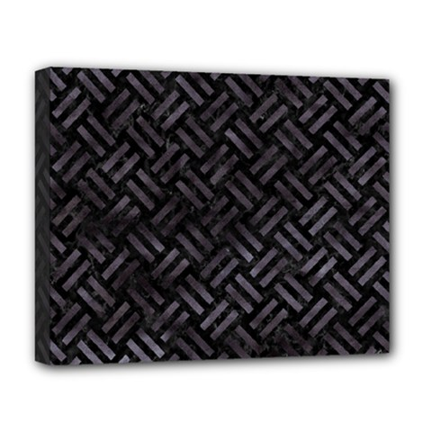 Woven2 Black Marble & Black Watercolor Deluxe Canvas 20  X 16  (stretched) by trendistuff
