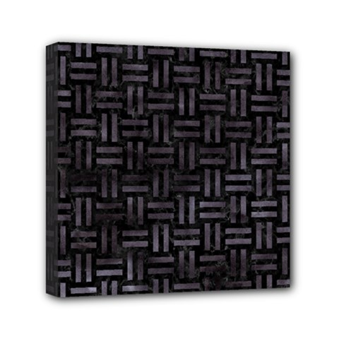 Woven1 Black Marble & Black Watercolor Mini Canvas 6  X 6  (stretched) by trendistuff