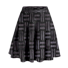 Woven1 Black Marble & Black Watercolor High Waist Skirt by trendistuff