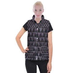 Triangle3 Black Marble & Black Watercolor Women s Button Up Puffer Vest