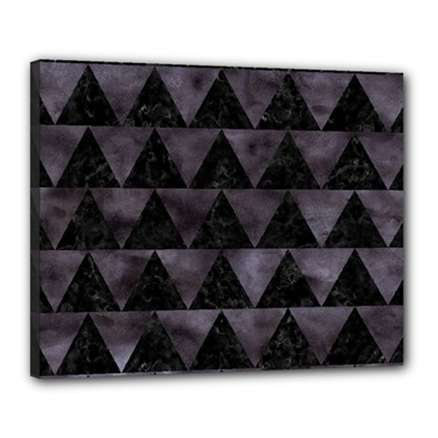 Triangle2 Black Marble & Black Watercolor Canvas 20  X 16  (stretched) by trendistuff