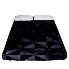 Triangle1 Black Marble & Black Watercolor Fitted Sheet (california King Size) by trendistuff