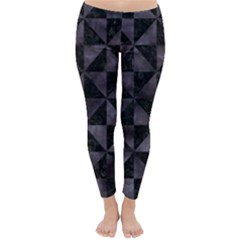Triangle1 Black Marble & Black Watercolor Classic Winter Leggings by trendistuff